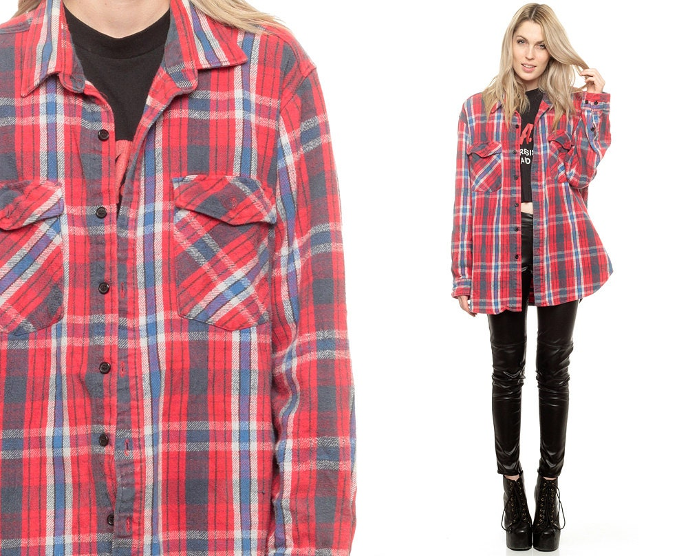 red plaid shirt grunge oversized flannel shirt navy blue 90s