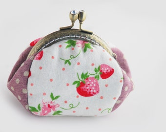 Strawberry and Polka dot coin Purse Pink jewellery purse