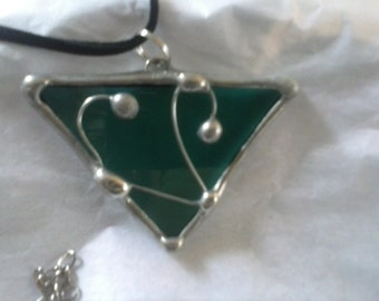 ON SALE Stained Glass Triangle Pendant