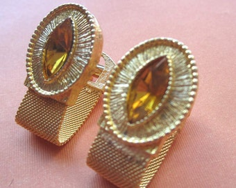 Vintage Goldtone Citrine Wrap Around Mesh Cufflinks . Gift Box. JCL130