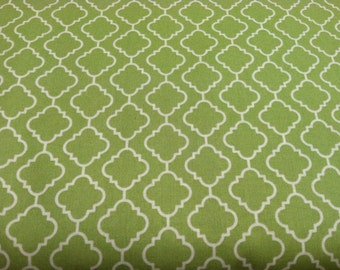 """Cotton Fabric with """" In the Beginning"""" print, sage green"""