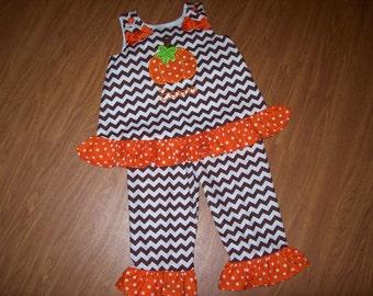 Custom Personalized Chevron Pumpkin Boutique Pant set