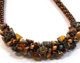 Kumihimo Chunky Flower Necklace PATTERN ONLY (PDF file)