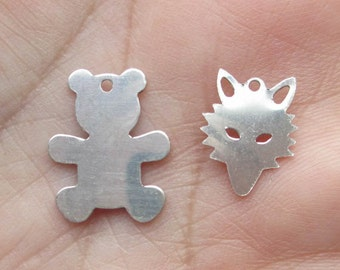 Sterling Silver Fox or Teddy Bear Stamping/Charm(you choose the quantity)