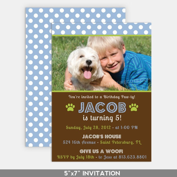 "PUPPY BIRTHDAY - Printable 5""x7"" Photo Invitation - Puppy Pawty Collection by Make Life Cute"
