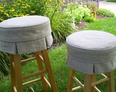 Linen Bar Stool Cover with Box Pleats and Cushion Barstool Slipcover Bar Stool Cushion