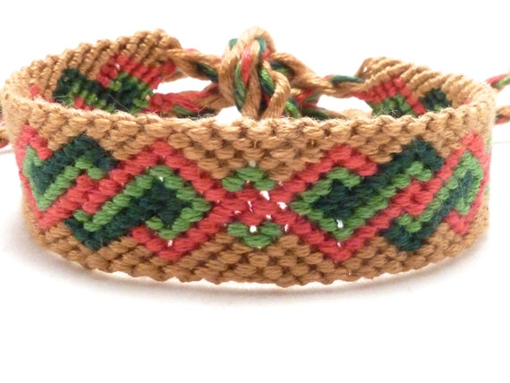 CLEARANCE Friendship bracelet with twisted diamonds pattern in green, red, and tan