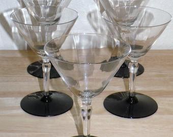 5 Black Amethyst 1930's Champagne, tall sherbet glasses