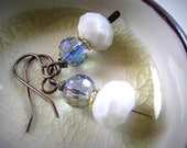 Reserved for Carla--Romantic Faceted Glass Earrings