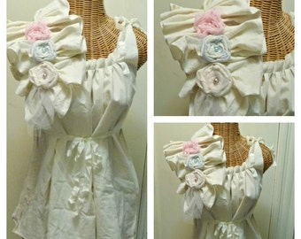 Ragdoll Maternity Blouse Tunic Top or Dress Pink or Blue on Ivory Casual Custom Womens Ruffled Tattered Eco