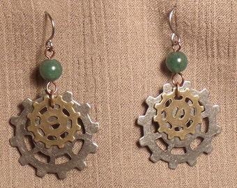 Steampunk gear earrings, mixed metals, green aventurine bead. 061421
