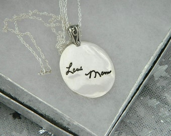 Handwriting Necklace in Memory of Mom Signature Jewelry in Sterling Silver