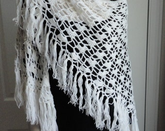Vintage White Crocheted Yarn Women Shawl, Wrap  Boho or Hippie Look from 60s