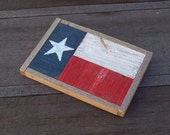 Small Rustic Texas Flag Folk Wall Art Made from Reclaimed Fencewood