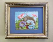 Woodland Decor Natural Home Birds Nest Eggs Morning Glories Victorian Scrapbook Card Framed