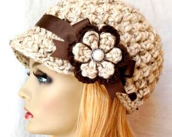 SALE Crochet Womens Hat, Newsboy, Oatmeal, Very Soft Chunky Wool, Flower, Brown Ribbon, Warm, Teens, Winter, Ski Hat, JE808N7