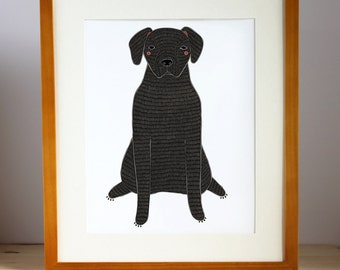 Black Labrador Print, Labrador Wall Art, Custom Dog Wall Print
