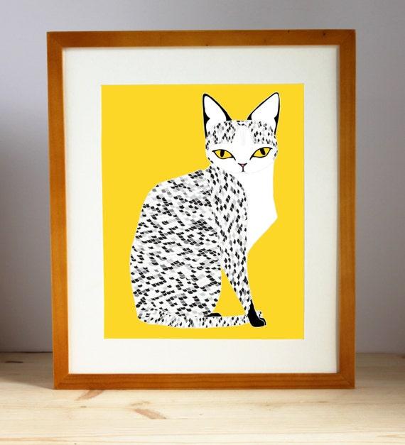 Yellow Mau Cat Print, Black White Cat Art, Cat Wall Art, Cat Art Print, Cat Illustration, Cat Decor, Cat Lover Art, Feline Home Decor