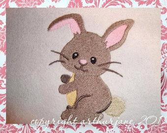 Bunny Embroidery Design, Featured in Sew Beautiful Magazine, INSTANT DOWNLOAD, Woodland Animals for Machine Embroidery 4x4