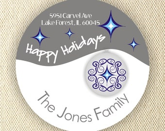 Happy Holidays Labels - Personalized Address Labels - 40 labels - 2inch circle - Chrismas Labels - Christmas Gift Labels