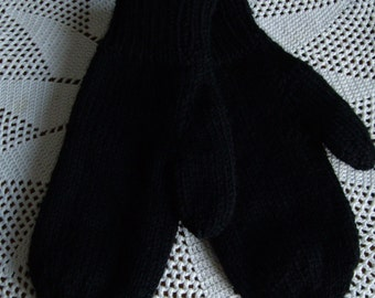 Black Acrylic Ladies Mittens