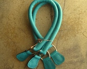 Handmade Turquoise Leather Bag Handles with Nickel D Rings