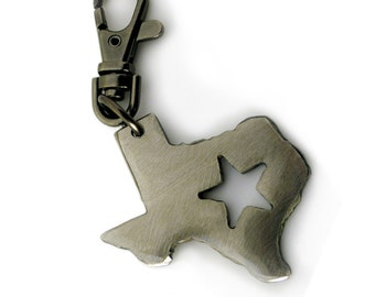 Texas Keychain by WATTO Distinctive Metal Wear- Handmade Silver Colored metal charm on Gunmetal Keychain / Keybob