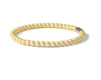 Gold Pearl Hematite Magnetic Bracelet, Pain Relief, Arthritis Jewelry