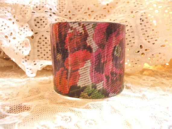 METAL PETALS vintage tin cuff bracelet poppy rustic floral repurposed needlepoint look