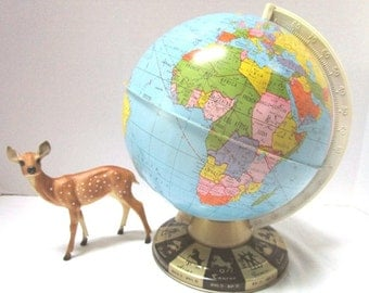 REDUCED Vintage World Globe, Ohio Art Zodiac Model, Made in USA, Colonial Africa Era, School Geography, Astrology Repurpose Altered Art