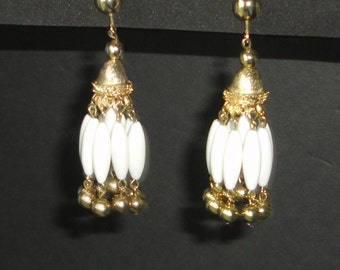 Vintage Gold tone and White Chandelier clip on Earrings.