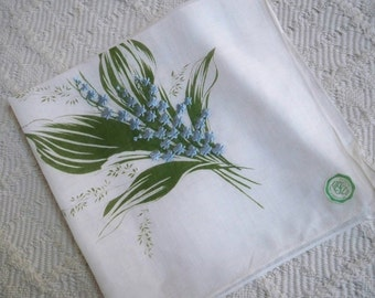 Vintage Accessory Handkerchief Blue Floral Switzerland Label Collectible Hanky