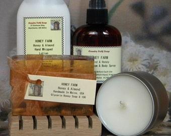 HONEY FARM Honey Almond Soap Gift Set - Handmade Bath Set -Funny Gifts For Friends
