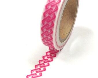 Washi Tape - 10mm - Pink Interlocking Squares on White - Deco Paper Tape No. 661