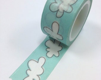 Washi Tape - 20mm - Puffy White Clouds on Blue - Deco Paper Tape No. 962