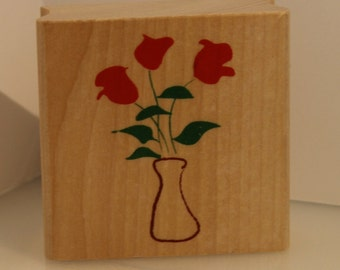 3 Solid Roses Flowers in a Vase Rubber Stamp