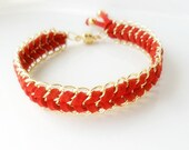 Chain Bracelet Red Chevron suede leather  Gold chain / Magnetic clasp  bracelet  / metallic / Friendship bracelet