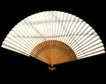 Vintage Japanese Hand Fan F69 nude woman posing for a painting