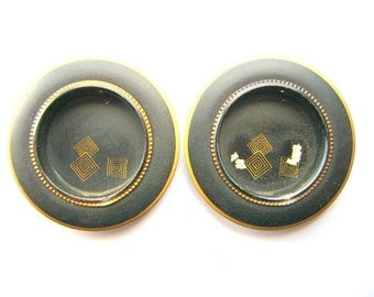 Vintage Japanese Door Pulls Gold Black Diamond Shapes (C25) Set of 2
