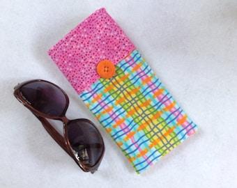 Sunglasses Case, large size glasses sleeve, wavy plaid pink, blue, orange,   eyeglass cozy, soft case, gift for women