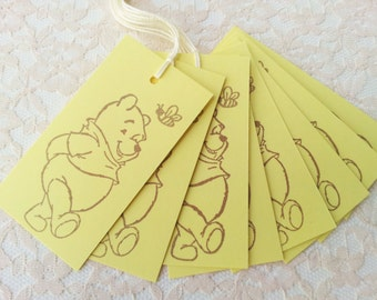 Winnie the Pooh and Bee Yellow Tags Baby Shower or Birthday Set of 25