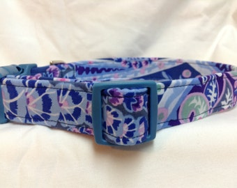 Purple Flowers Dog Collar Boy Girl  Lilac Paisley