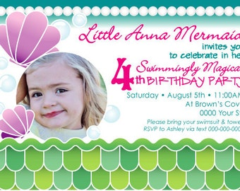 Custom Mermaid Sea Party Invite with Photo and Coordinating Blank FREEBIE