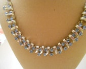 V-163 Kramer of New York Light Blue Rhinestone Necklace