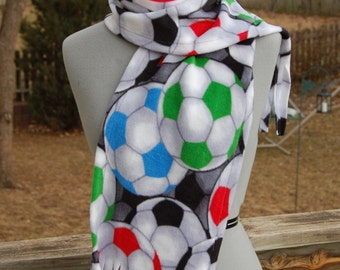 Multi Colored Red Blue Green Soccer  Ball Print Fleece Scarf