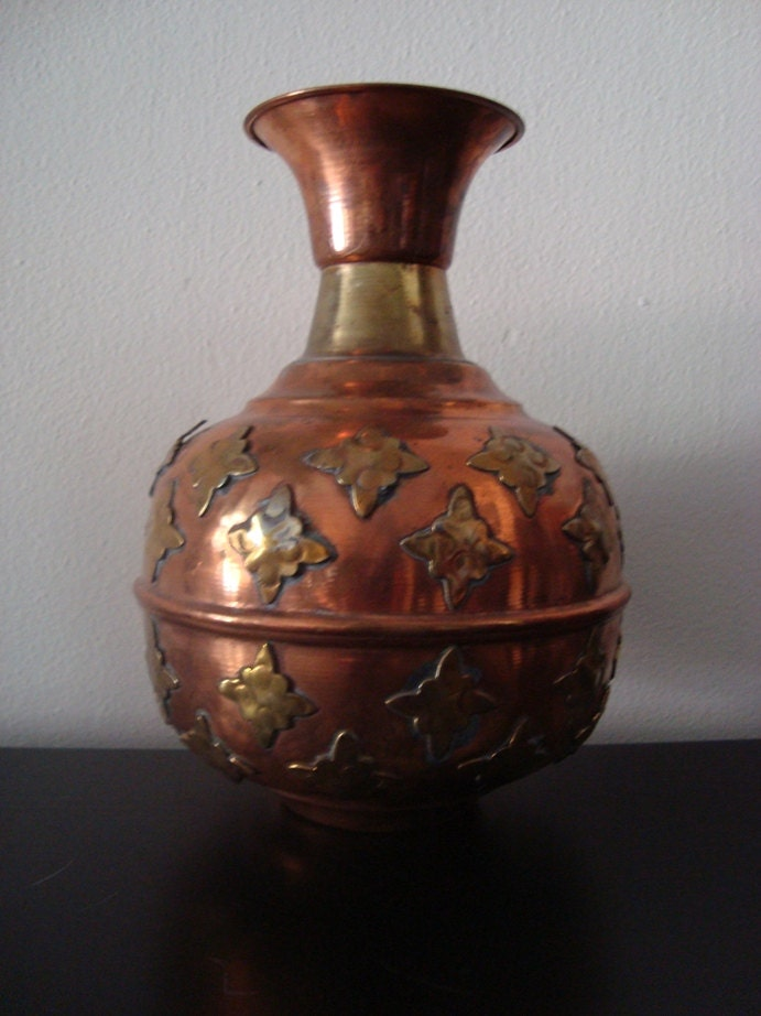 Vintage Moroccan Vase Copper And Brass
