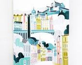 Edinburgh Wall Art Print, Scottish Castle Cityscape, Skyline Canvas Illustration, Home decor, Royal Mile, Nursery, Gift