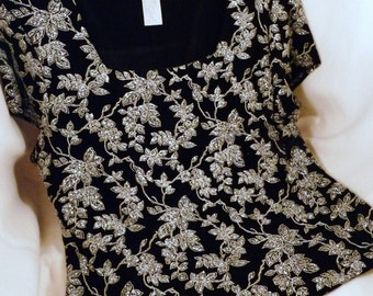 Clothing, Women's, PL, Black, White, Embroidered