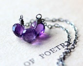 February Birthstone Necklace Amethyst Necklace Silver Necklace Sterling Silver Necklace - Hyacinth - Spring Fashion Purple Gemstone Jewelry
