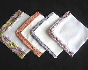Hankie Set Handkerchief Linen Vintage & New UNUSED Piece Colorful CROCHETED LACE Trim Hems